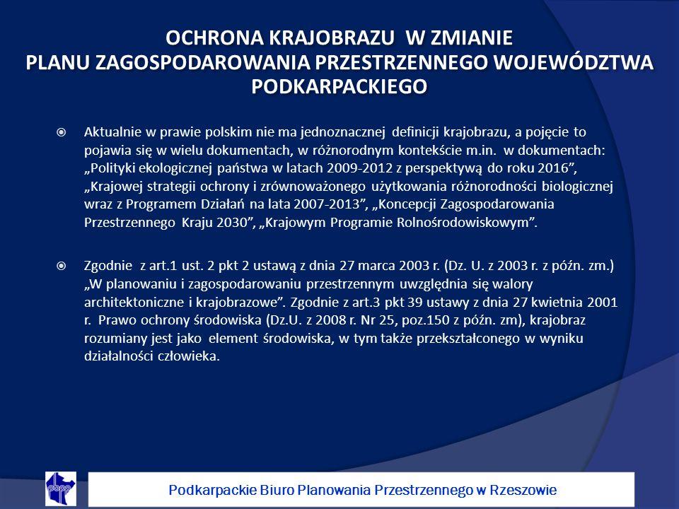 Aktualnie w prawie polskim nie ma jednoznacznej definicji krajobrazu, a pojęcie to pojawia się w wielu dokumentach, w różnorodnym kontekście m.in.