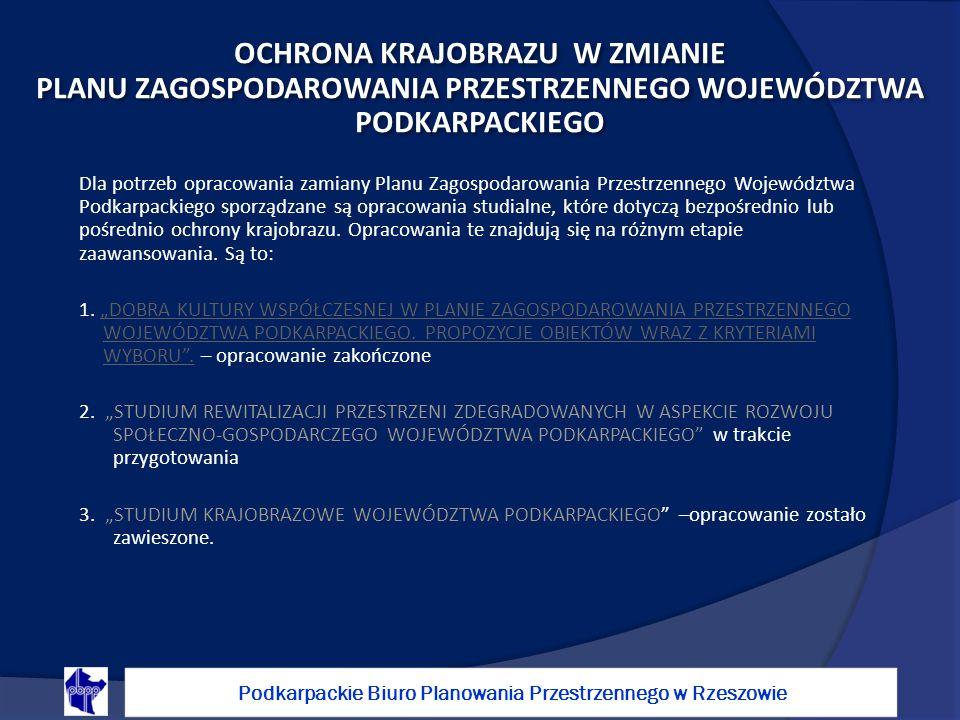 Dla potrzeb opracowania zamiany Planu Zagospodarowania Przestrzennego Województwa Podkarpackiego sporządzane są opracowania studialne, które dotyczą bezpośrednio lub pośrednio ochrony krajobrazu.
