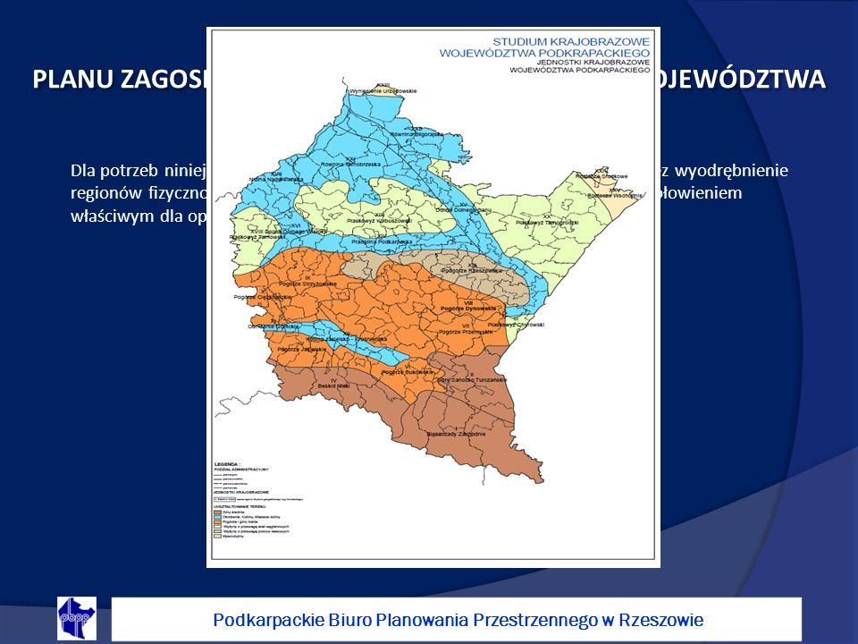 Podkarpackie Biuro Planowania Przestrzennego w Rzeszowie OCHRONA KRAJOBRAZU W ZMIANIE PLANU ZAGOSPODAROWANIA PRZESTRZENNEGO WOJEWÓDZTWA PODKARPACKIEGO Dla potrzeb niniejszego opracowania przyjęto jednostki krajobrazowe poprzez wyodrębnienie regionów fizyczno-geograficznych w ujęciu Jerzego Kondrackiego (z uszczegółowieniem właściwym dla opracowania regionalnego)