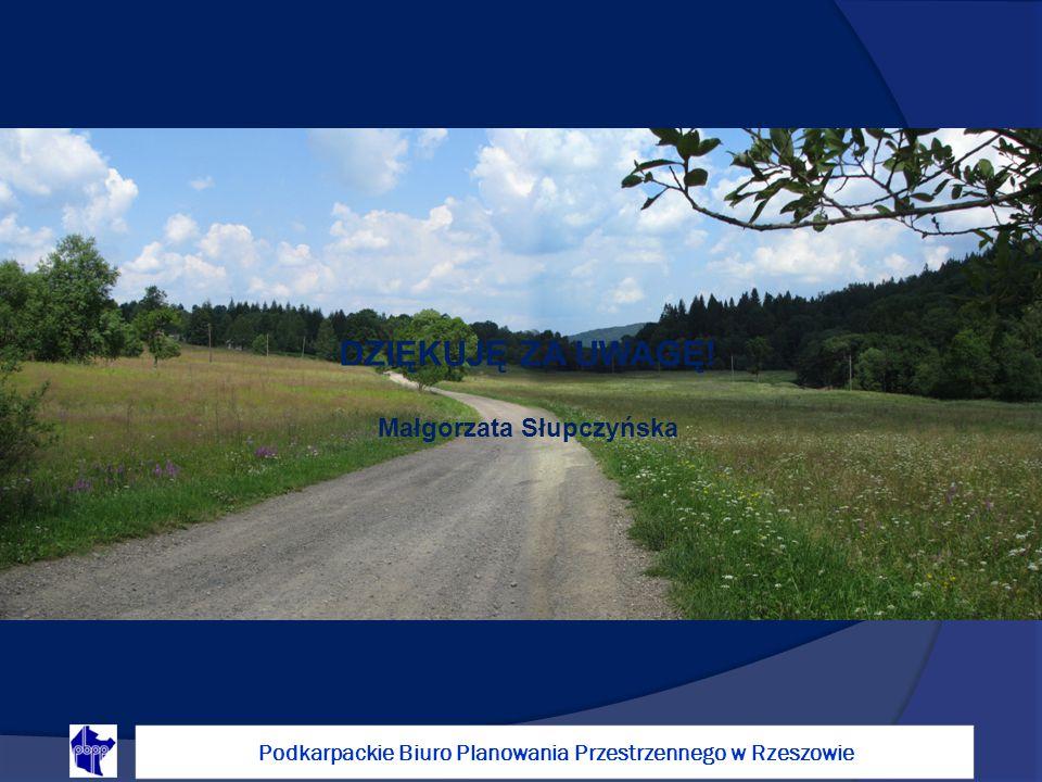 Małgorzata Słupczyńska DZIĘKUJĘ ZA UWAGĘ! Podkarpackie Biuro Planowania Przestrzennego w Rzeszowie