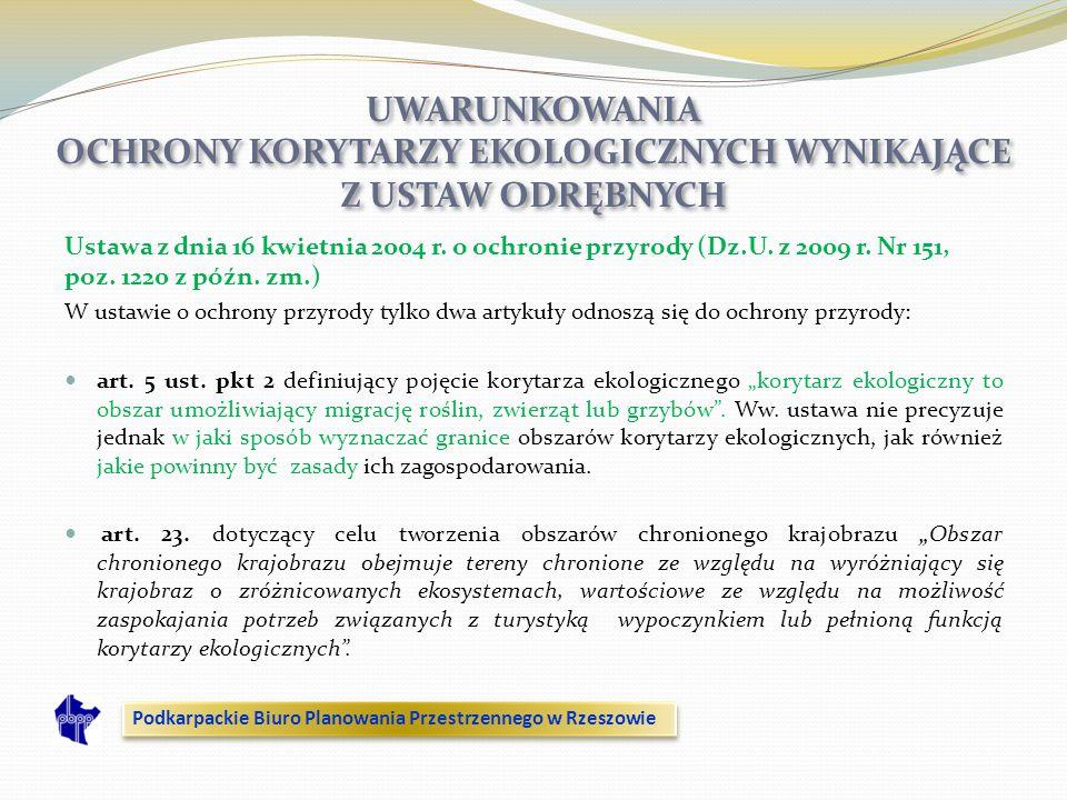 Ustawa z dnia 16 kwietnia 2004 r. o ochronie przyrody (Dz.U. z 2009 r. Nr 151, poz. 1220 z późn. zm.) W ustawie o ochrony przyrody tylko dwa artykuły