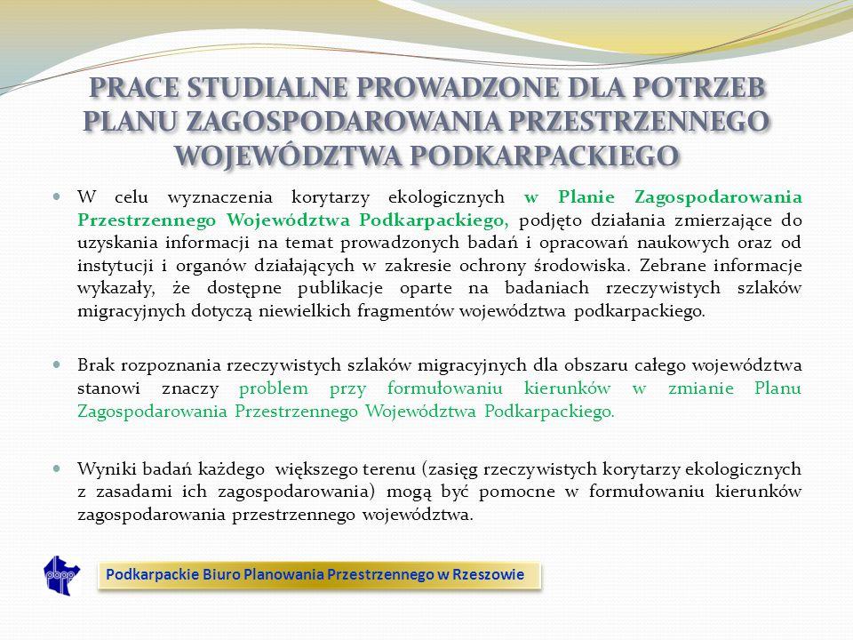 W celu wyznaczenia korytarzy ekologicznych w Planie Zagospodarowania Przestrzennego Województwa Podkarpackiego, podjęto działania zmierzające do uzysk