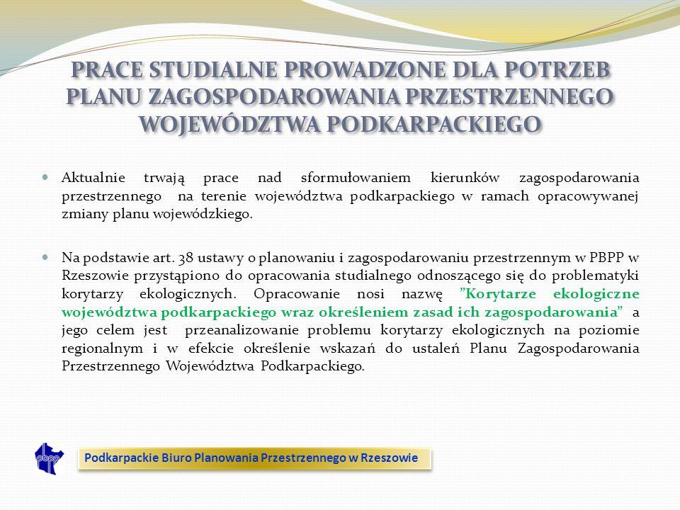 Aktualnie trwają prace nad sformułowaniem kierunków zagospodarowania przestrzennego na terenie województwa podkarpackiego w ramach opracowywanej zmian