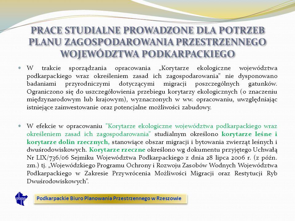 W trakcie sporządzania opracowania Korytarze ekologiczne województwa podkarpackiego wraz określeniem zasad ich zagospodarowania nie dysponowano badani