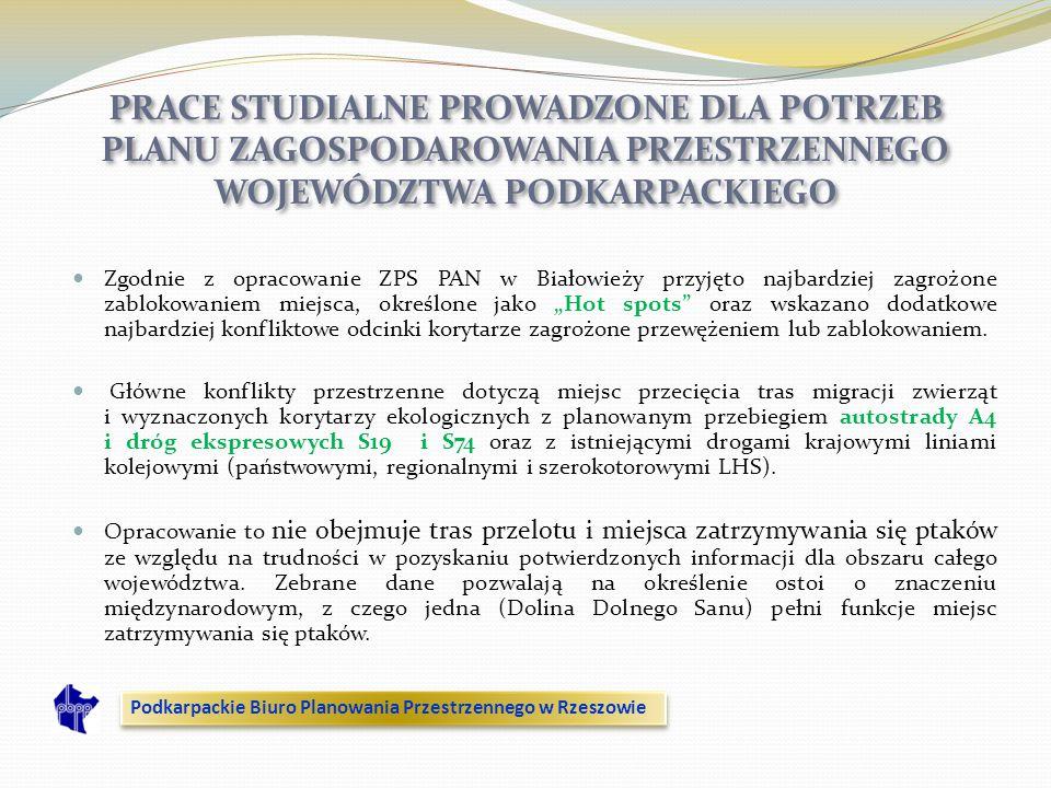 Zgodnie z opracowanie ZPS PAN w Białowieży przyjęto najbardziej zagrożone zablokowaniem miejsca, określone jako Hot spots oraz wskazano dodatkowe najb
