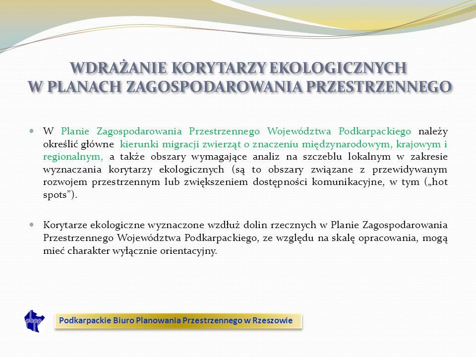 WDRAŻANIE KORYTARZY EKOLOGICZNYCH W PLANACH ZAGOSPODAROWANIA PRZESTRZENNEGO W Planie Zagospodarowania Przestrzennego Województwa Podkarpackiego należy