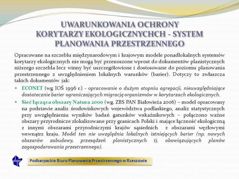 UWARUNKOWANIA OCHRONY KORYTARZY EKOLOGICZNYCHCH - SYSTEM PLANOWANIA PRZESTRZENNEGO Opracowane na szczeblu międzynarodowym i krajowym modele ponadlokal