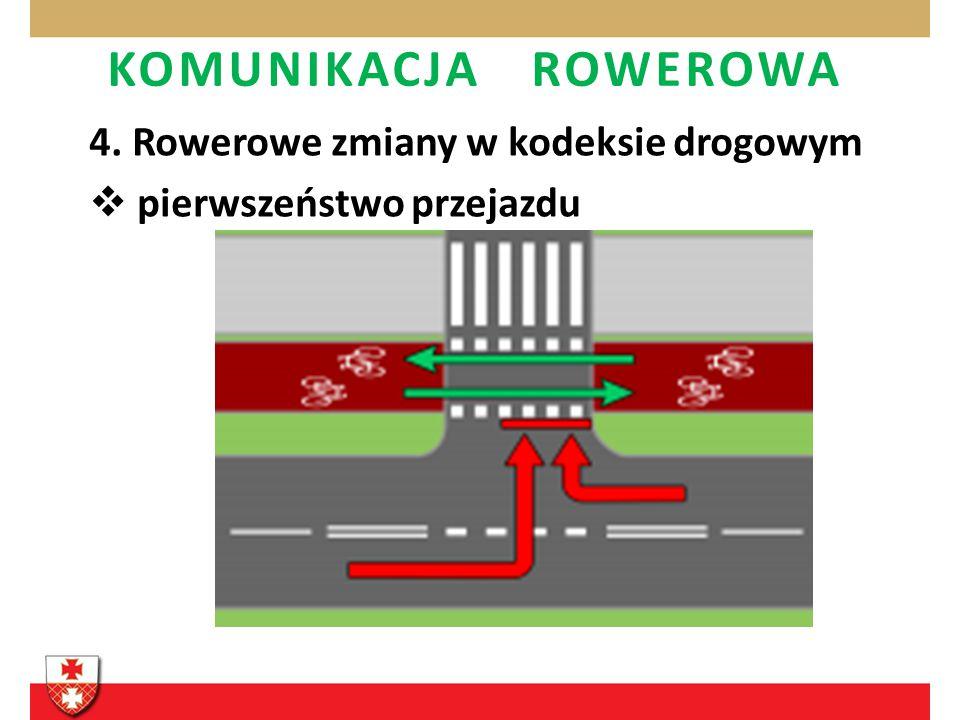 KOMUNIKACJA ROWEROWA 4. Rowerowe zmiany w kodeksie drogowym pierwszeństwo przejazdu