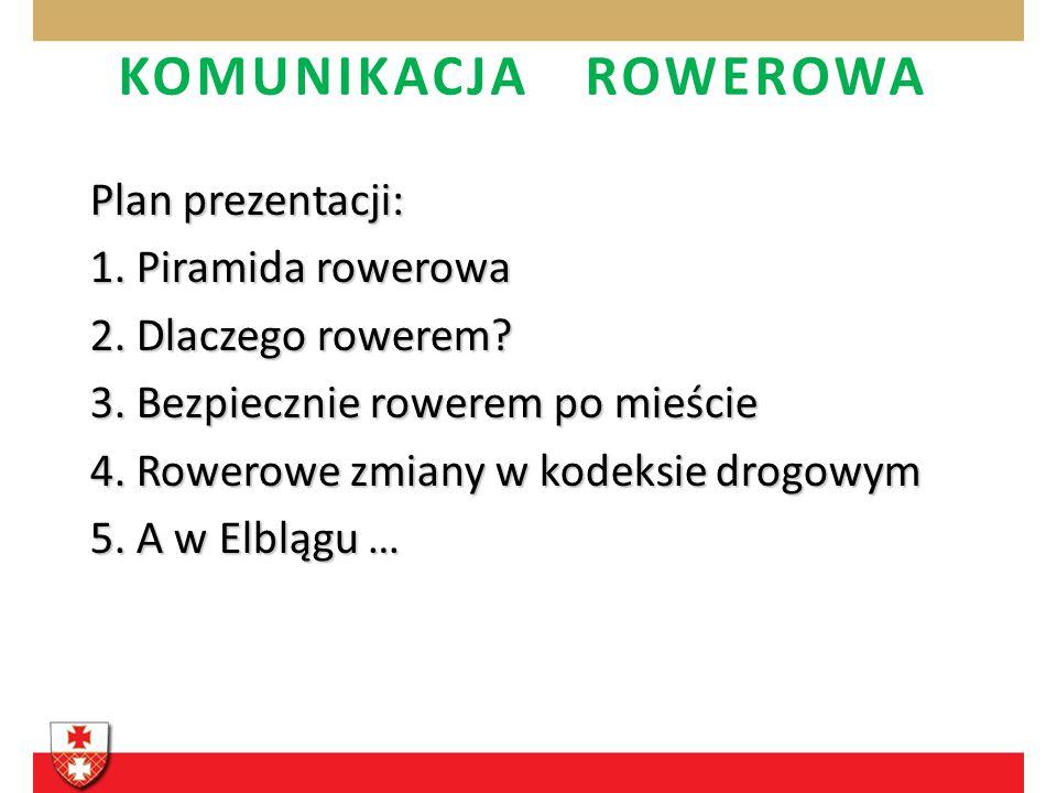 KOMUNIKACJA ROWEROWA Plan prezentacji: 1. Piramida rowerowa 2. Dlaczego rowerem? 3. Bezpiecznie rowerem po mieście 4. Rowerowe zmiany w kodeksie drogo