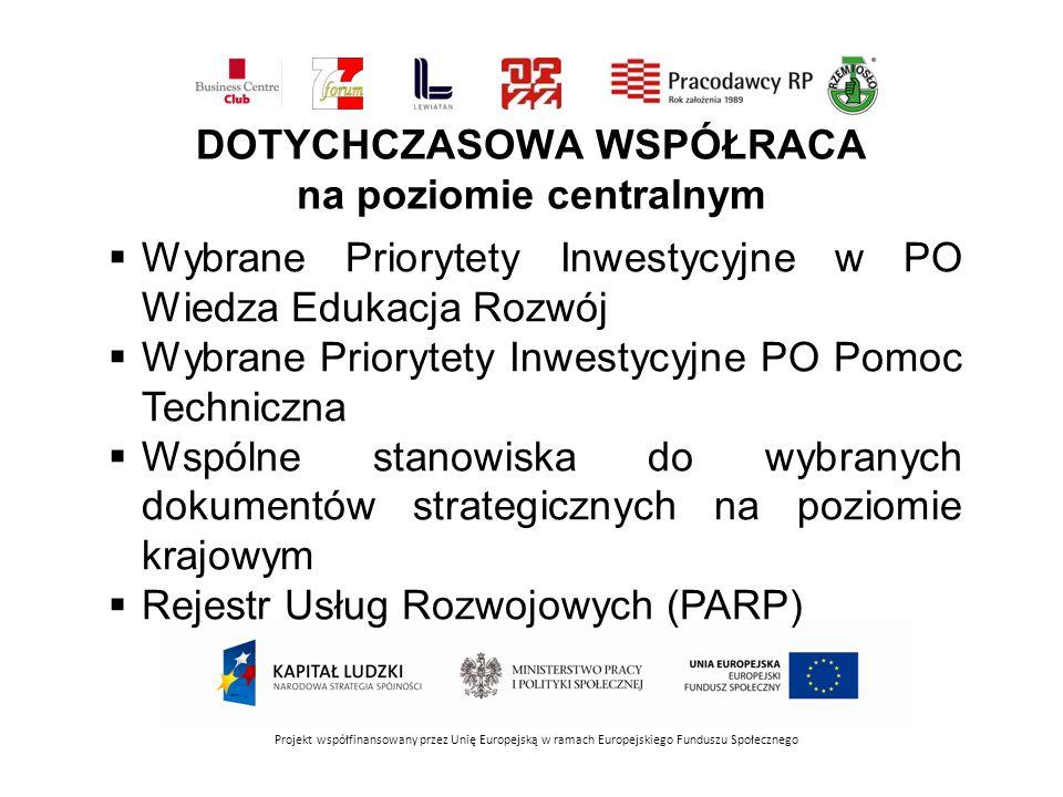 DOTYCHCZASOWA WSPÓŁRACA na poziomie centralnym Projekt współfinansowany przez Unię Europejską w ramach Europejskiego Funduszu Społecznego Wybrane Prio