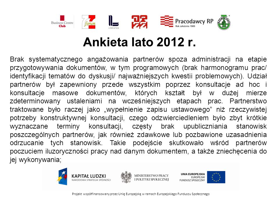 Ankieta lato 2012 r. Projekt współfinansowany przez Unię Europejską w ramach Europejskiego Funduszu Społecznego Brak systematycznego angażowania partn