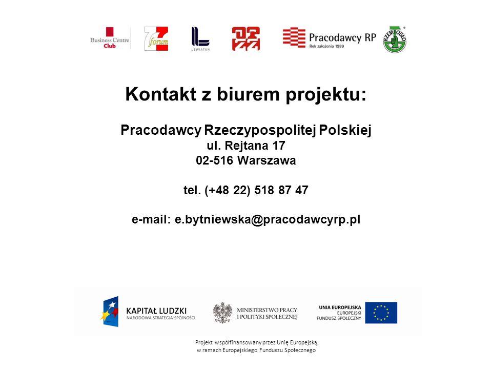Kontakt z biurem projektu: Pracodawcy Rzeczypospolitej Polskiej ul. Rejtana 17 02-516 Warszawa tel. (+48 22) 518 87 47 e-mail: e.bytniewska@pracodawcy