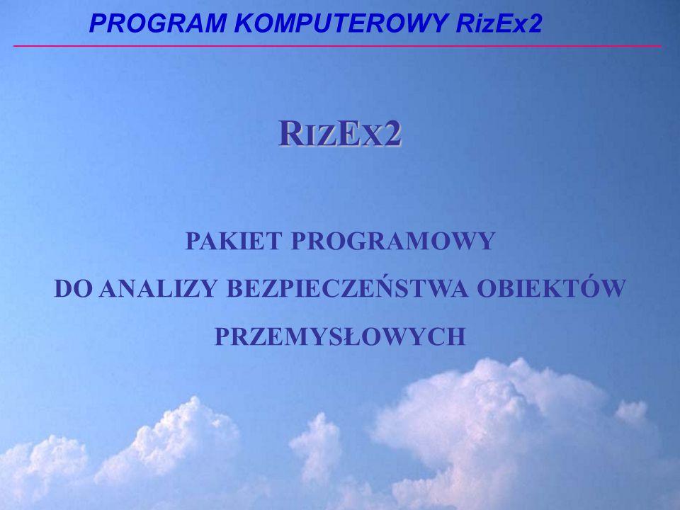 PROGRAM KOMPUTEROWY RizEx2 R IZ E X 2 PAKIET PROGRAMOWY DO ANALIZY BEZPIECZEŃSTWA OBIEKTÓW PRZEMYSŁOWYCH
