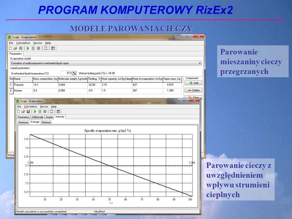 PROGRAM KOMPUTEROWY RizEx2 Parowanie mieszaniny cieczy przegrzanych Parowanie cieczy z uwzględnieniem wpływu strumieni cieplnych MODELE PAROWANIA CIECZY