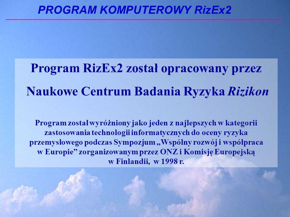 PROGRAM KOMPUTEROWY RizEx2 Program RizEx2 został opracowany przez Naukowe Centrum Badania Ryzyka Rizikon Program został wyróżniony jako jeden z najlepszych w kategorii zastosowania technologii informatycznych do oceny ryzyka przemysłowego podczas Sympozjum Wspólny rozwój i współpraca w Europie zorganizowanym przez ONZ i Komisję Europejską w Finlandii, w 1998 r.