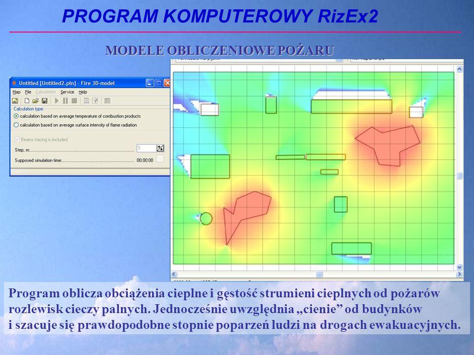 PROGRAM KOMPUTEROWY RizEx2 Program oblicza obciążenia cieplne i gęstość strumieni cieplnych od pożarów rozlewisk cieczy palnych.