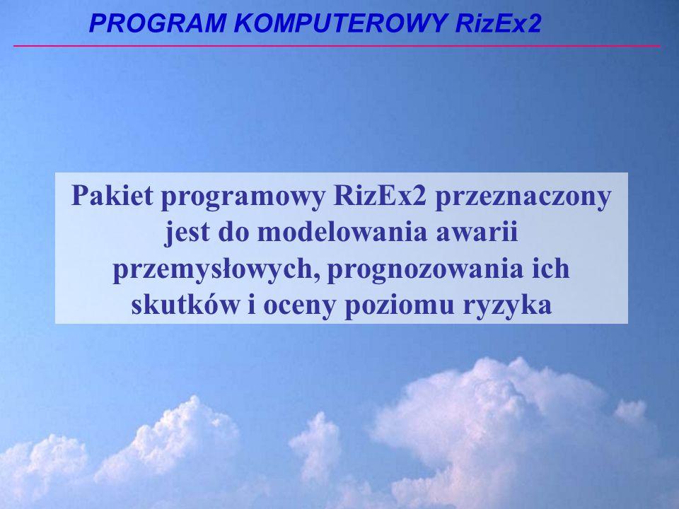 PROGRAM KOMPUTEROWY RizEx2 Pakiet programowy RizEx2 przeznaczony jest do modelowania awarii przemysłowych, prognozowania ich skutków i oceny poziomu ryzyka
