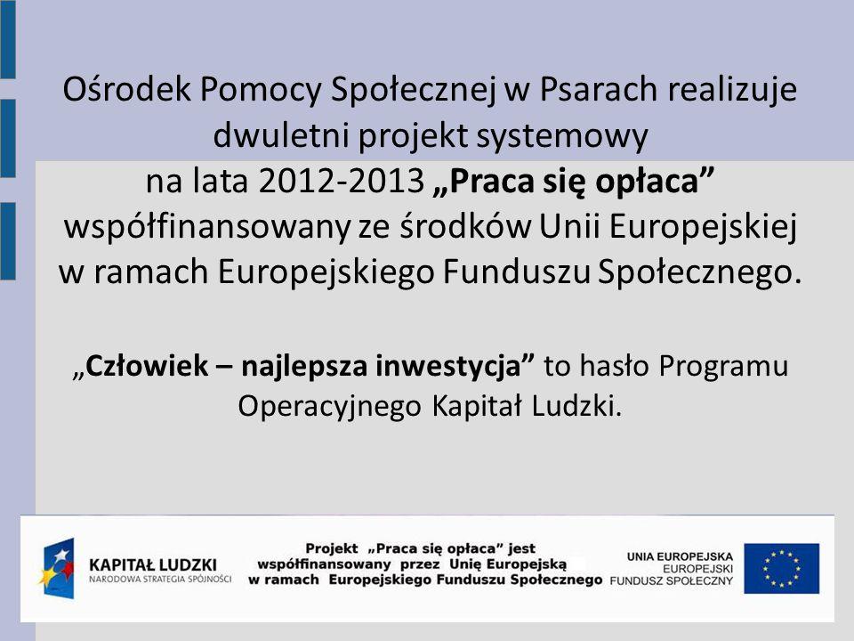 Ośrodek Pomocy Społecznej w Psarach realizuje dwuletni projekt systemowy na lata 2012-2013 Praca się opłaca współfinansowany ze środków Unii Europejskiej w ramach Europejskiego Funduszu Społecznego.