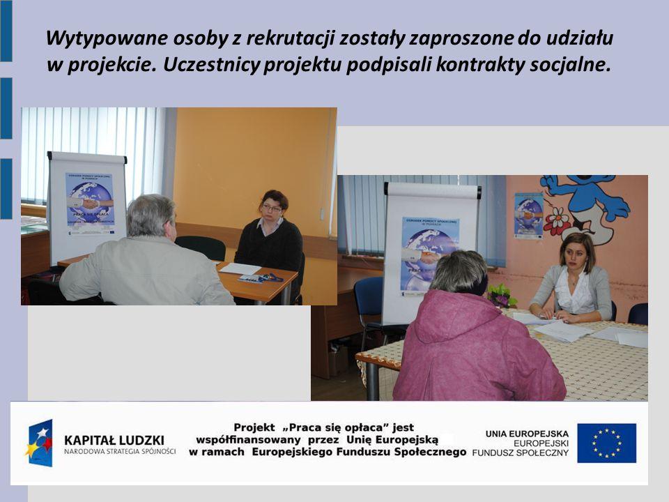 Wytypowane osoby z rekrutacji zostały zaproszone do udziału w projekcie. Uczestnicy projektu podpisali kontrakty socjalne.