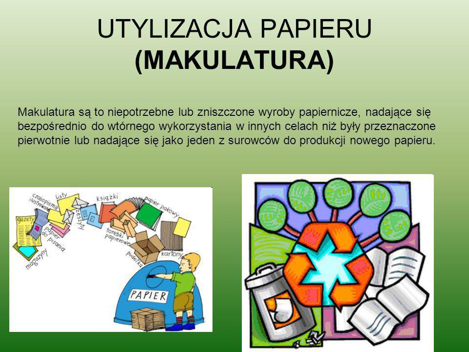 UTYLIZACJA PAPIERU (MAKULATURA) Makulatura są to niepotrzebne lub zniszczone wyroby papiernicze, nadające się bezpośrednio do wtórnego wykorzystania w