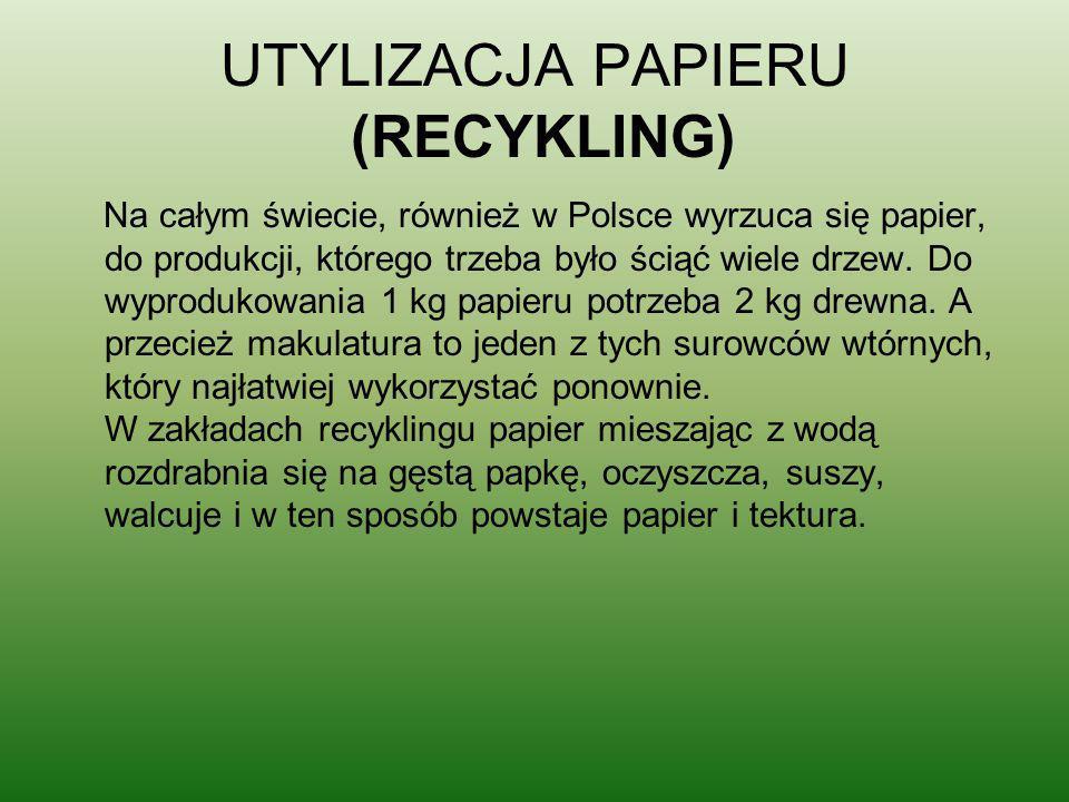 UTYLIZACJA PAPIERU (RECYKLING) Na całym świecie, również w Polsce wyrzuca się papier, do produkcji, którego trzeba było ściąć wiele drzew. Do wyproduk