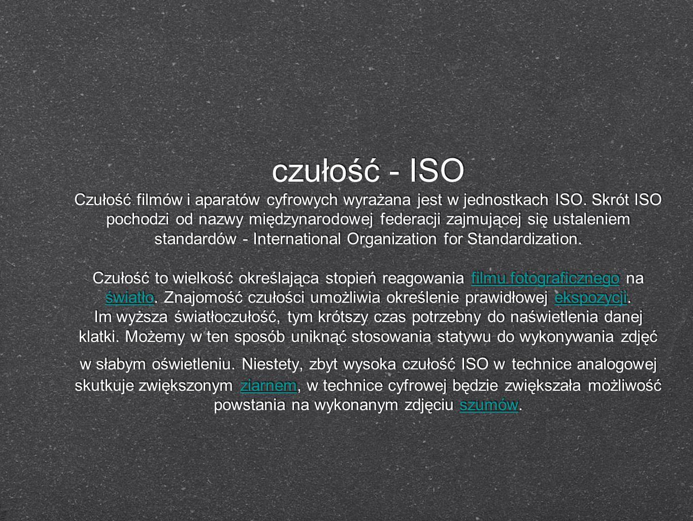 czułość - ISO Czułość filmów i aparatów cyfrowych wyrażana jest w jednostkach ISO. Skrót ISO pochodzi od nazwy międzynarodowej federacji zajmującej si