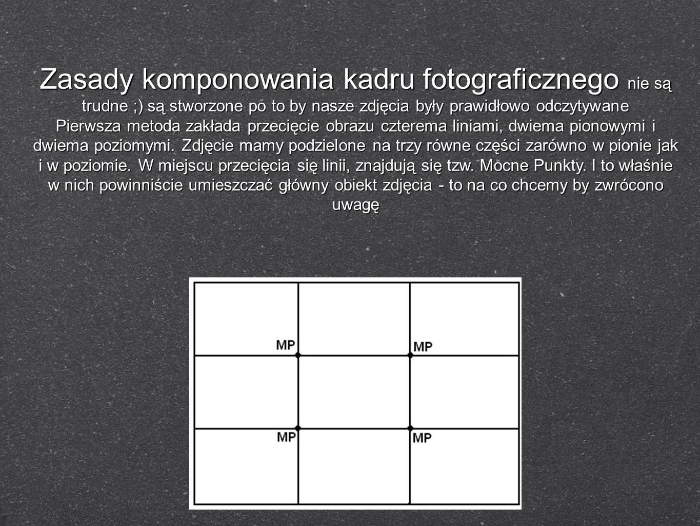 Zasady komponowania kadru fotograficznego nie są trudne ;) są stworzone po to by nasze zdjęcia były prawidłowo odczytywane Pierwsza metoda zakłada prz