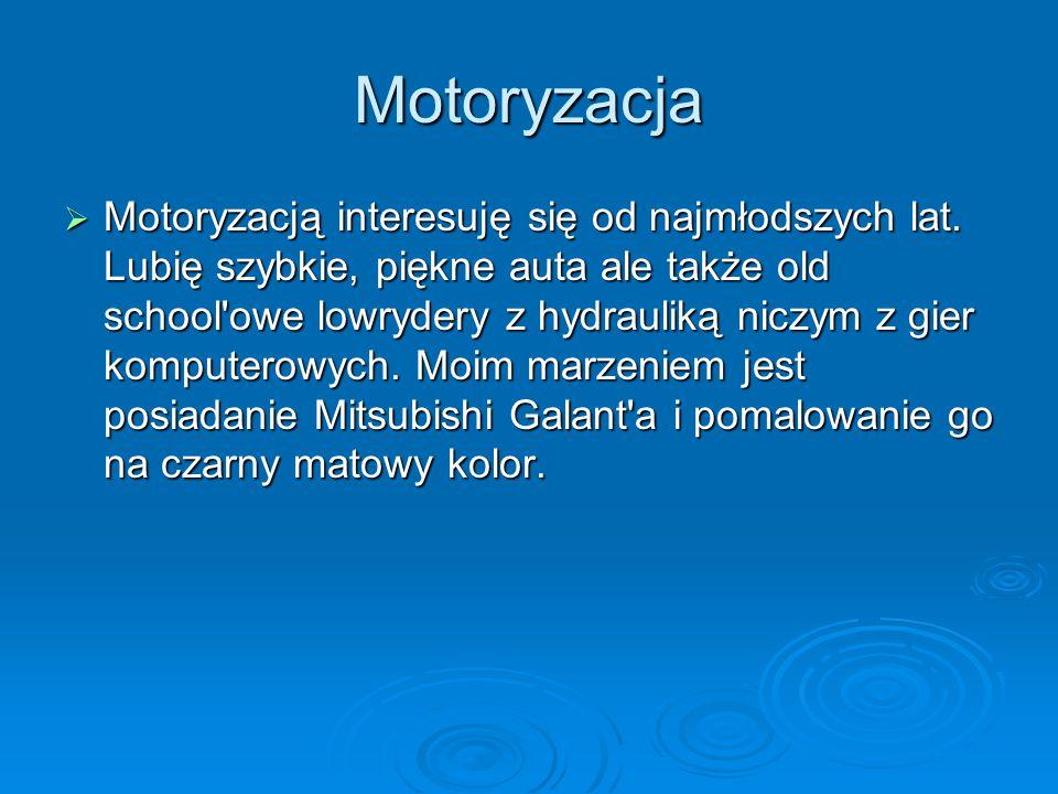 Motoryzacja Motoryzacją interesuję się od najmłodszych lat. Lubię szybkie, piękne auta ale także old school'owe lowrydery z hydrauliką niczym z gier k
