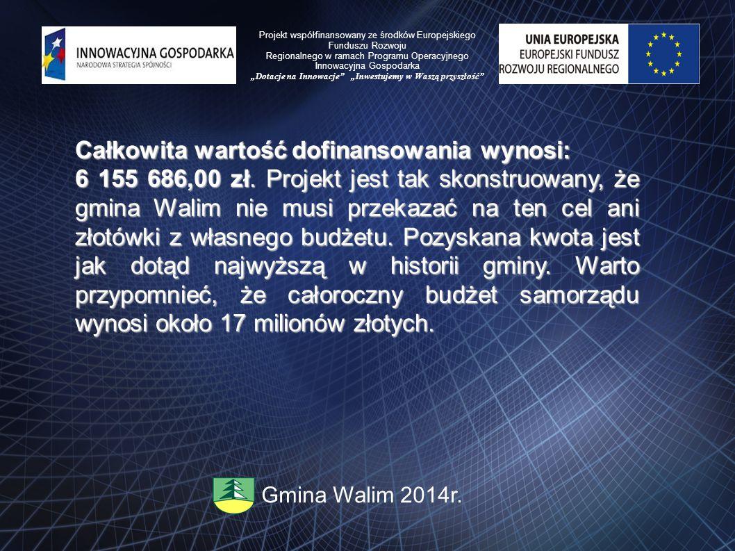 Całkowita wartość dofinansowania wynosi: 6 155 686,00 zł. Projekt jest tak skonstruowany, że gmina Walim nie musi przekazać na ten cel ani złotówki z