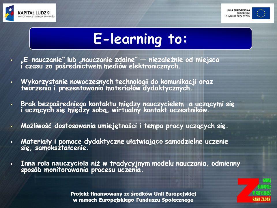 Projekt finansowany ze środków Unii Europejskiej w ramach Europejskiego Funduszu Społecznego E-nauczanie jest możliwe dzięki systemowi informatycznemu, zwanemu platformą zdalnego nauczania.