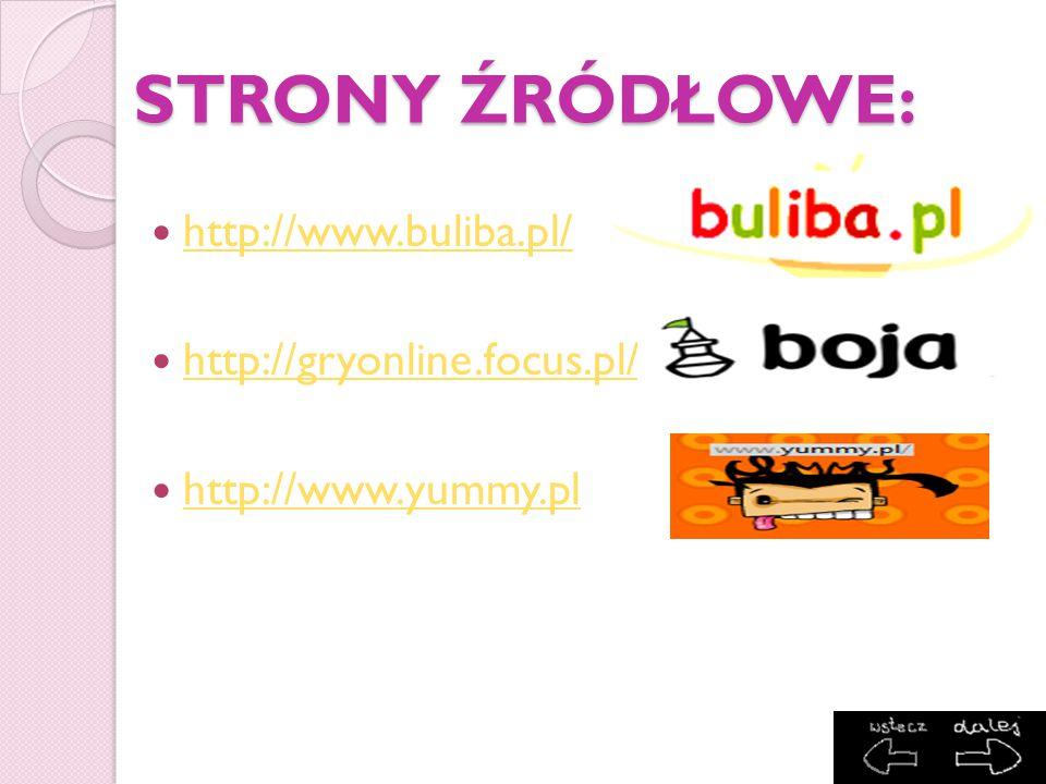 STRONY ŹRÓDŁOWE: http://www.buliba.pl/ http://gryonline.focus.pl/ http://www.yummy.pl