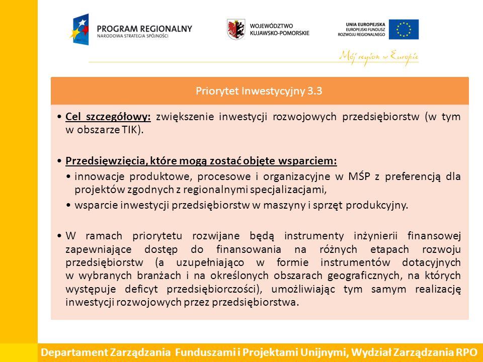 Departament Zarządzania Funduszami i Projektami Unijnymi, Wydział Zarządzania RPO Priorytet Inwestycyjny 3.3 Cel szczegółowy: zwiększenie inwestycji rozwojowych przedsiębiorstw (w tym w obszarze TIK).