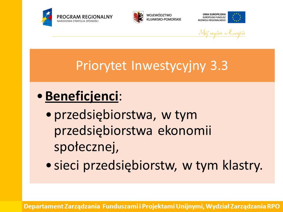 Departament Zarządzania Funduszami i Projektami Unijnymi, Wydział Zarządzania RPO Priorytet Inwestycyjny 3.3 Beneficjenci: przedsiębiorstwa, w tym przedsiębiorstwa ekonomii społecznej, sieci przedsiębiorstw, w tym klastry.