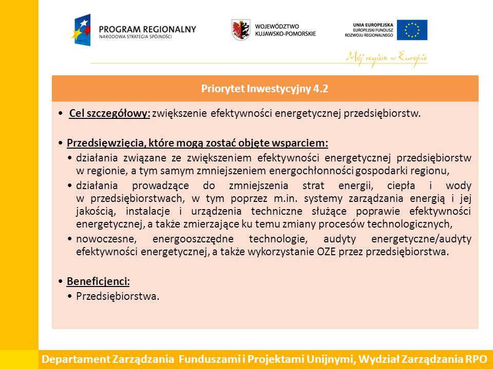 Departament Zarządzania Funduszami i Projektami Unijnymi, Wydział Zarządzania RPO Priorytet Inwestycyjny 4.2 Cel szczegółowy: zwiększenie efektywności energetycznej przedsiębiorstw.