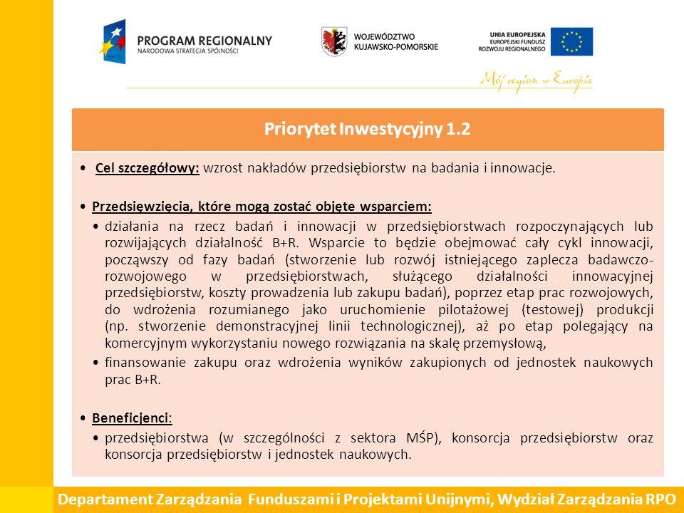Departament Zarządzania Funduszami i Projektami Unijnymi, Wydział Zarządzania RPO Priorytet Inwestycyjny 3.1 Cel szczegółowy: wzrost przedsiębiorczości.