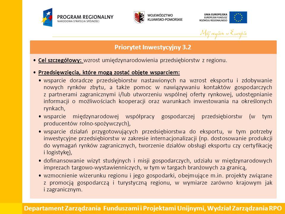 Departament Zarządzania Funduszami i Projektami Unijnymi, Wydział Zarządzania RPO Priorytet Inwestycyjny 3.2 Cel szczegółowy: wzrost umiędzynarodowienia przedsiębiorstw z regionu.