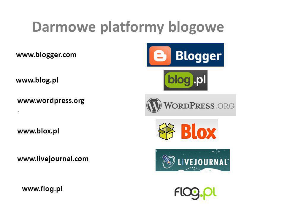 Darmowe platformy blogowe www.blogger.com www.blog.pl www.wordpress.org. www.blox.pl www.livejournal.com www.flog.pl