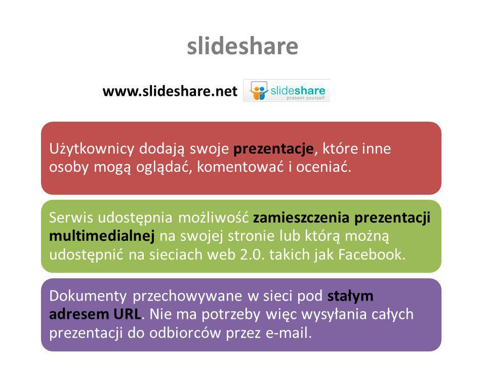 slideshare www.slideshare.net Użytkownicy dodają swoje prezentacje, które inne osoby mogą oglądać, komentować i oceniać. Serwis udostępnia możliwość z