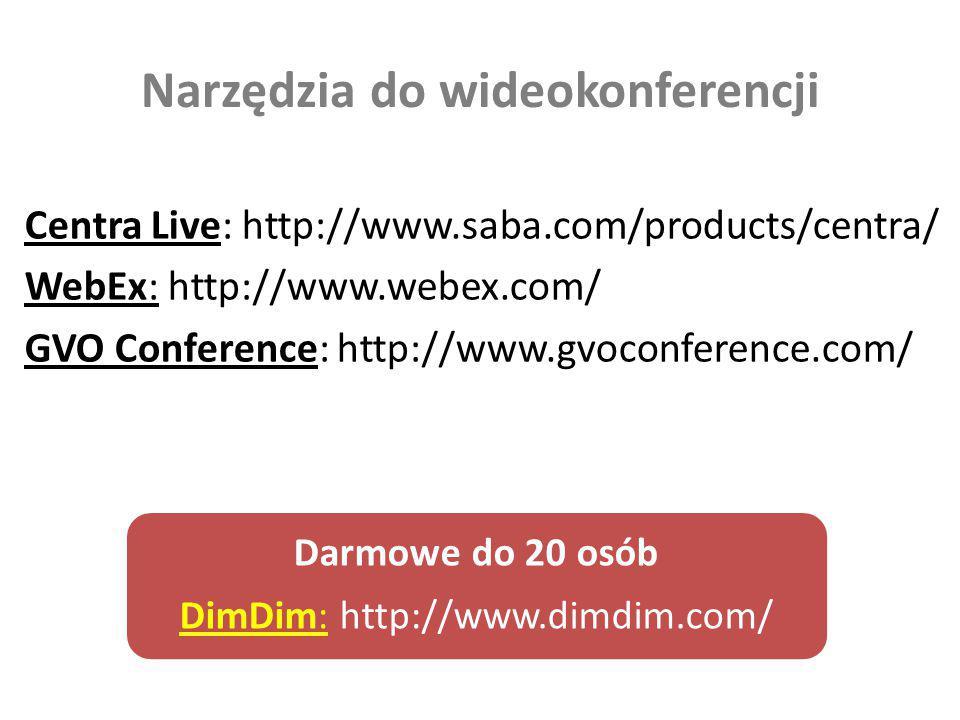 Narzędzia do wideokonferencji Centra Live: http://www.saba.com/products/centra/ WebEx: http://www.webex.com/ GVO Conference: http://www.gvoconference.