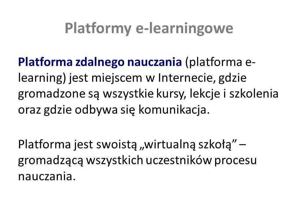Platformy e-learningowe Platforma zdalnego nauczania (platforma e- learning) jest miejscem w Internecie, gdzie gromadzone są wszystkie kursy, lekcje i