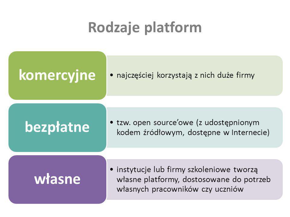 Rodzaje platform najczęściej korzystają z nich duże firmy komercyjne tzw. open sourceowe (z udostępnionym kodem źródłowym, dostępne w Internecie) bezp