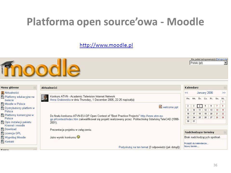 36 Platforma open sourceowa - Moodle http://www.moodle.pl