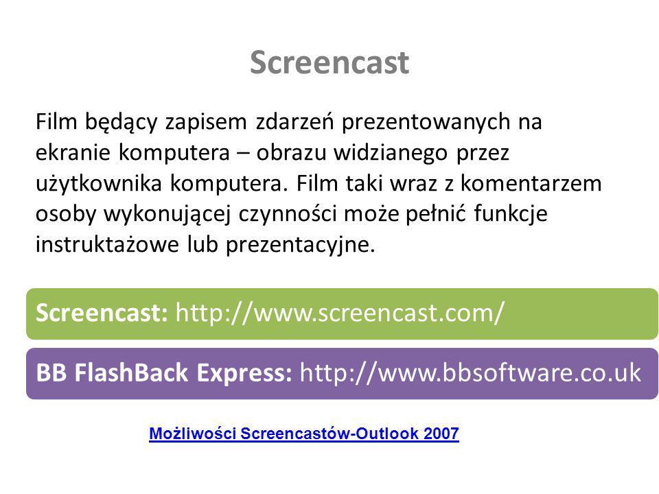 Screencast Film będący zapisem zdarzeń prezentowanych na ekranie komputera – obrazu widzianego przez użytkownika komputera. Film taki wraz z komentarz