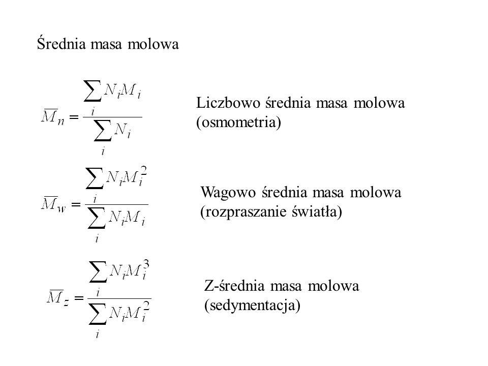 Średnia masa molowa Liczbowo średnia masa molowa (osmometria) Wagowo średnia masa molowa (rozpraszanie światła) Z-średnia masa molowa (sedymentacja)