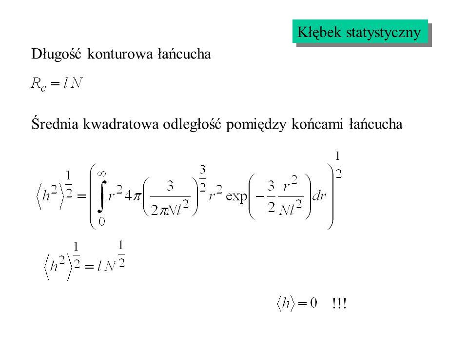 Długość konturowa łańcucha Średnia kwadratowa odległość pomiędzy końcami łańcucha !!!