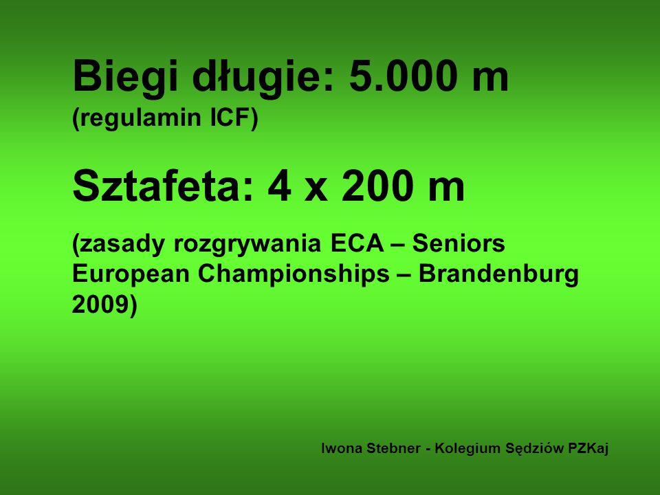 Biegi długie: 5.000 m (regulamin ICF) Sztafeta: 4 x 200 m (zasady rozgrywania ECA – Seniors European Championships – Brandenburg 2009) Iwona Stebner -