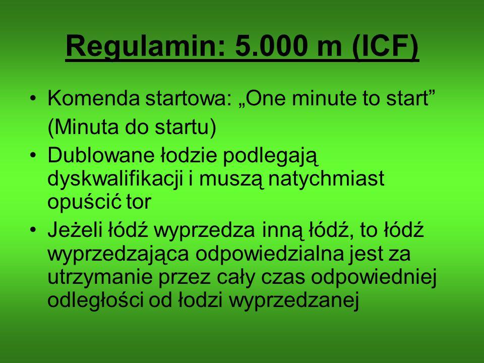 Regulamin: 5.000 m (ICF) Komenda startowa: One minute to start (Minuta do startu) Dublowane łodzie podlegają dyskwalifikacji i muszą natychmiast opuśc