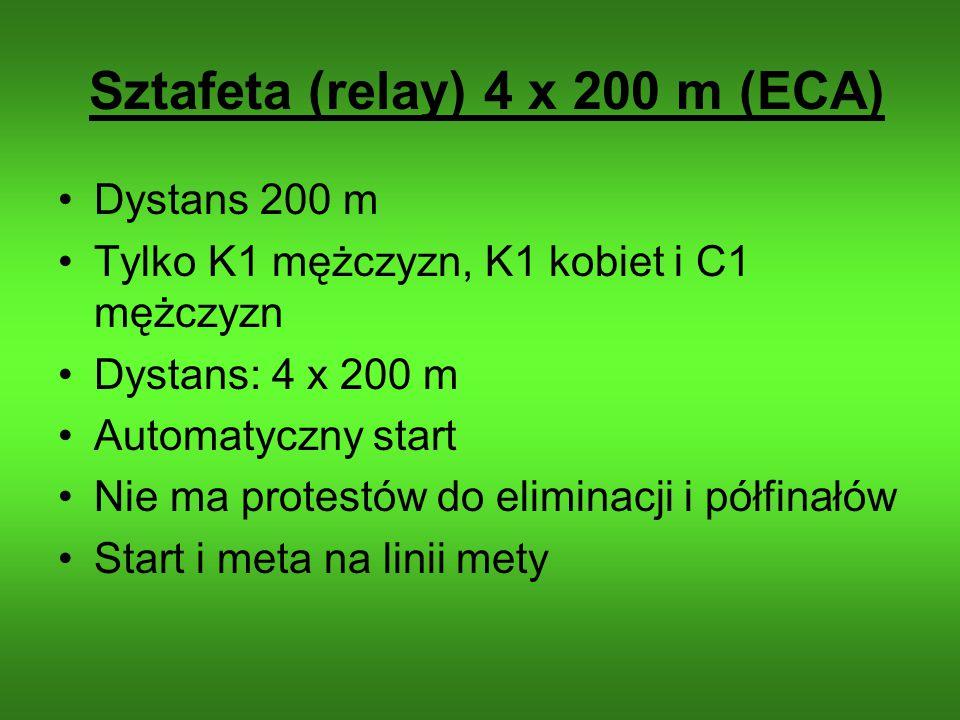 Sztafeta (relay) 4 x 200 m (ECA) Dystans 200 m Tylko K1 mężczyzn, K1 kobiet i C1 mężczyzn Dystans: 4 x 200 m Automatyczny start Nie ma protestów do el