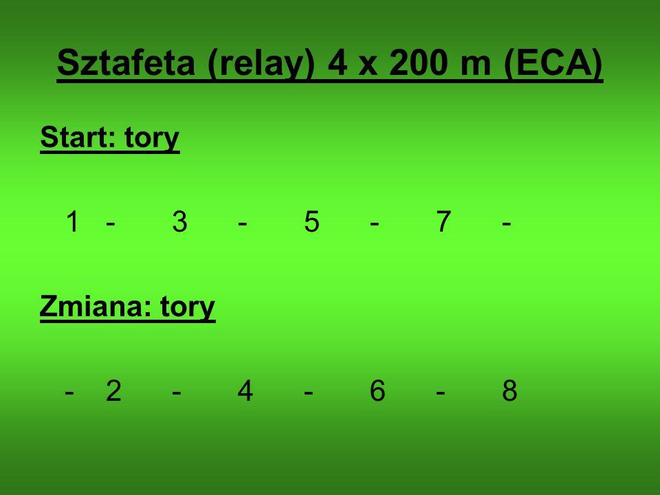 Sztafeta (relay) 4 x 200 m (ECA) Start: tory 1-3-5-7- Zmiana: tory -2-4-6-8