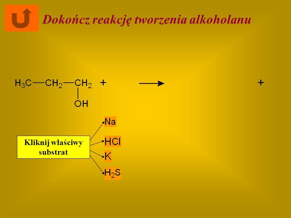 Dokończ reakcję tworzenia alkoholanu Kliknij właściwy substrat